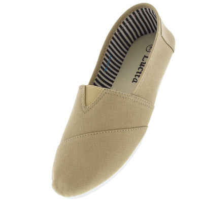 Tm3021a Beige Slip on Skimmer Flat - Wholesale Fashion Shoes