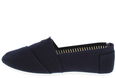 Tm3021a Navy Slip on Skimmer Flat - Wholesale Fashion Shoes