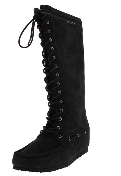 Totem8 Black Distressed Moccasin Boot - Wholesale Fashion Shoes
