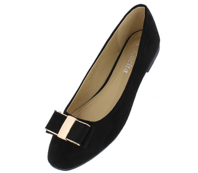 Tr0507 Black Suede Gold Metallic Double Bow Ballet Flat - Wholesale Fashion Shoes