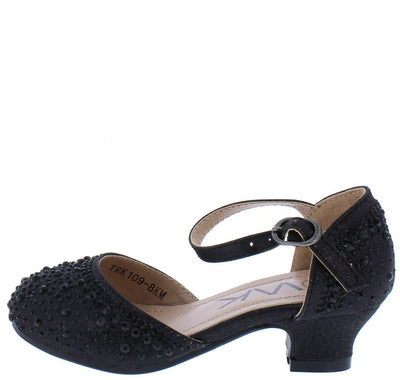 Adam264 Black Sparkle Dorsay Ankle Strap Kids Low Heel - Wholesale Fashion Shoes