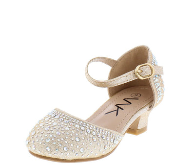 Adam264 Gold Sparkle Dorsay Ankle Strap Kids Low Heel - Wholesale Fashion Shoes