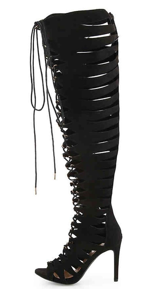 b7746d857b7 Truelove77s Black Suede Lace Up Gladiator Boots From  12.88 -  29.88 ...