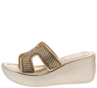 Sophia048 Gold Women's Wedge - Wholesale Fashion Shoes
