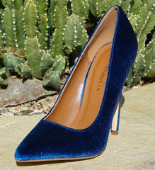 TAHOE BLUE VELVET POINTED TOE STILETTO HEEL - Wholesale Fashion Shoes