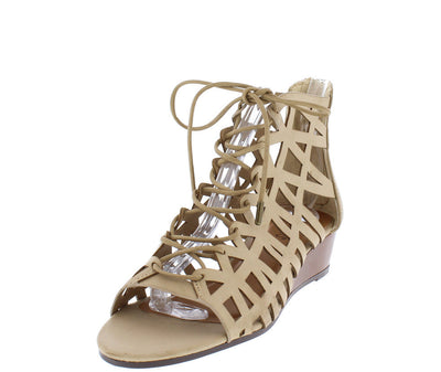 Talented01m Light Taupe Cage Lace Up Wedge Sandal - Wholesale Fashion Shoes