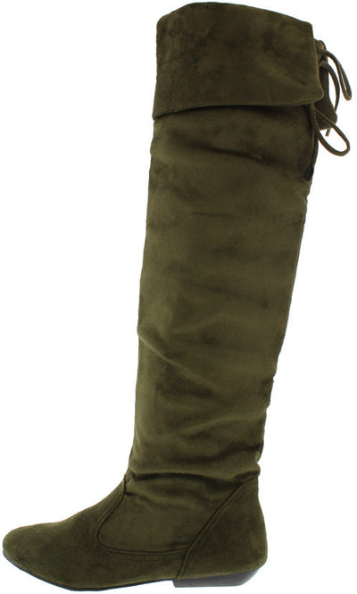 Tammy58 Olive Almond Toe Slouch Fold Over Lace Up Boot - Wholesale Fashion Shoes