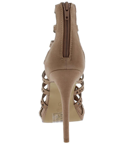 Tani Taupe Strappy Caged Laser Cut Stiletto Heel - Wholesale Fashion Shoes