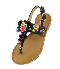 TANYA35K BLACK EMBELLISHED BEADED SLING BACK KIDS SANDAL - Wholesale Fashion Shoes