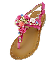 TANYA35K FUCHSIA EMBELLISHED BEADED SLING BACK KIDS SANDAL - Wholesale Fashion Shoes