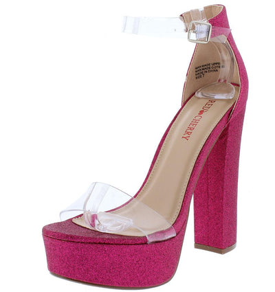 Tara1 Fuchsia Lucite Open Toe Ankle Strap Platform Heel - Wholesale Fashion Shoes