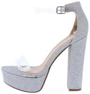 13190508e464 Tara1 Silver Lucite Open Toe Ankle Strap Platform Heel - Wholesale Fashion  Shoes