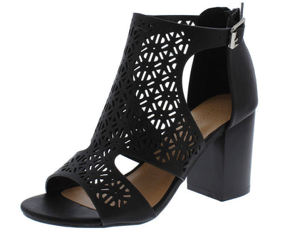 Taste10s Black Laser Cut Open Toe Cut Out Chunky Heel - Wholesale Fashion Shoes