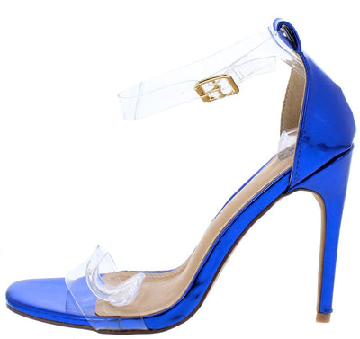 Annabella189 Blue Lucite Open Toe Ankle Strap Stiletto Heel - Wholesale Fashion Shoes