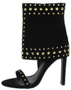 Taurus Black Suede Studded Open Toe Ankle Cuff Heel - Wholesale Fashion Shoes
