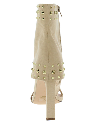 Taurus Nude Suede Studded Open Toe Ankle Cuff Heel - Wholesale Fashion Shoes