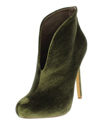 CAROLYN OLIVE VELVET PULL ON HIGH BACK ANKLE BOOT - Wholesale Fashion Shoes