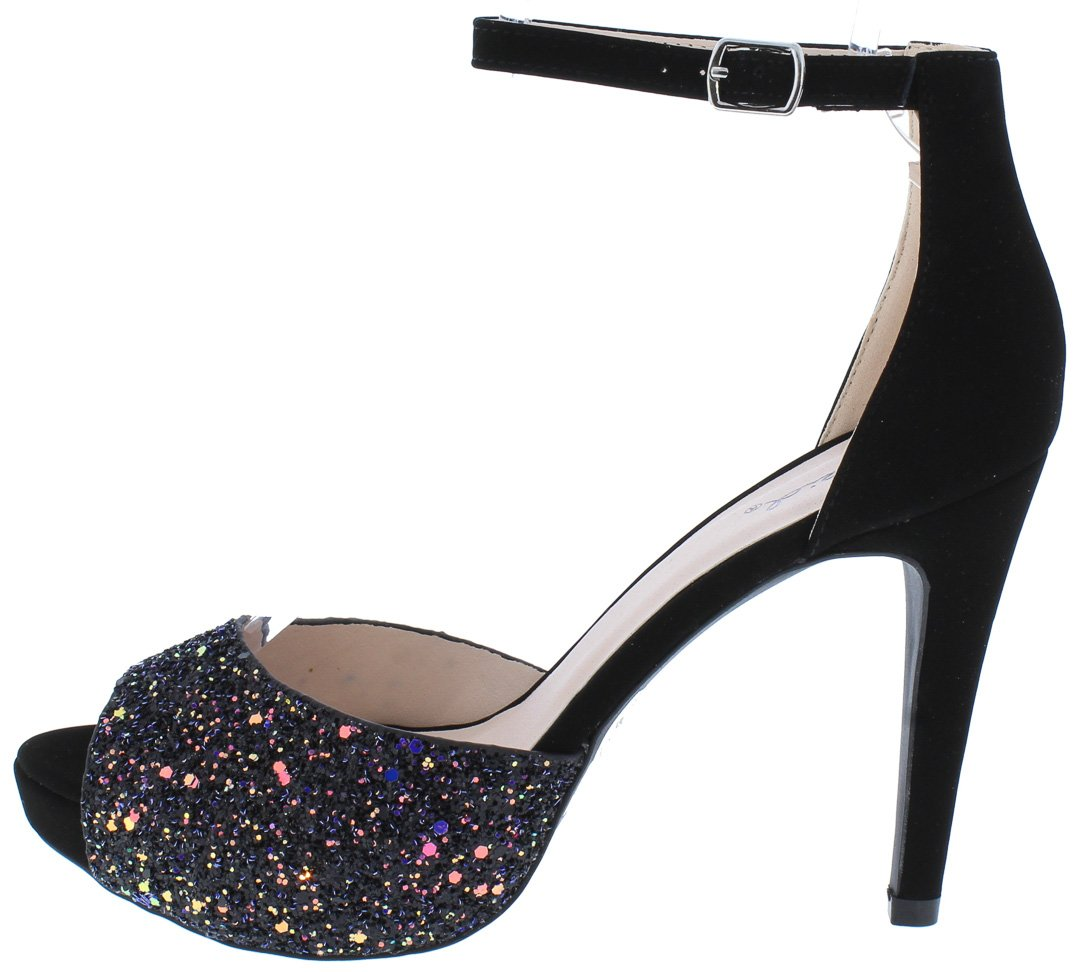 ffe64fbc6579 Tavi13 Black Glitter Peep Toe Ankle Strap Stiletto Heel - Wholesale Fashion  Shoes