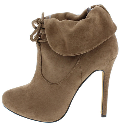 Marissa Taupe Lace Up Fold Over Heel Ankle Boot - Wholesale Fashion Shoes