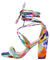 Yvette035 Floral Open Toe Cross Strap Ankle Wrap Block Heel