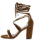 Yvette035 Tan Suede Open Toe Cross Strap Ankle Wrap Heel