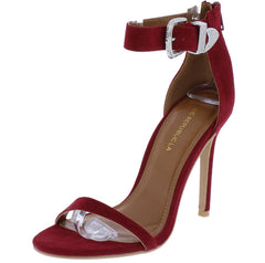 Taya Wine Ope Toe Western Ankle Buckle Stiletto Heel - Wholesale Fashion Shoes