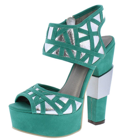 Ariel188 Teal Metallic Laser Cut Chunky Platform Heel - Wholesale Fashion Shoes