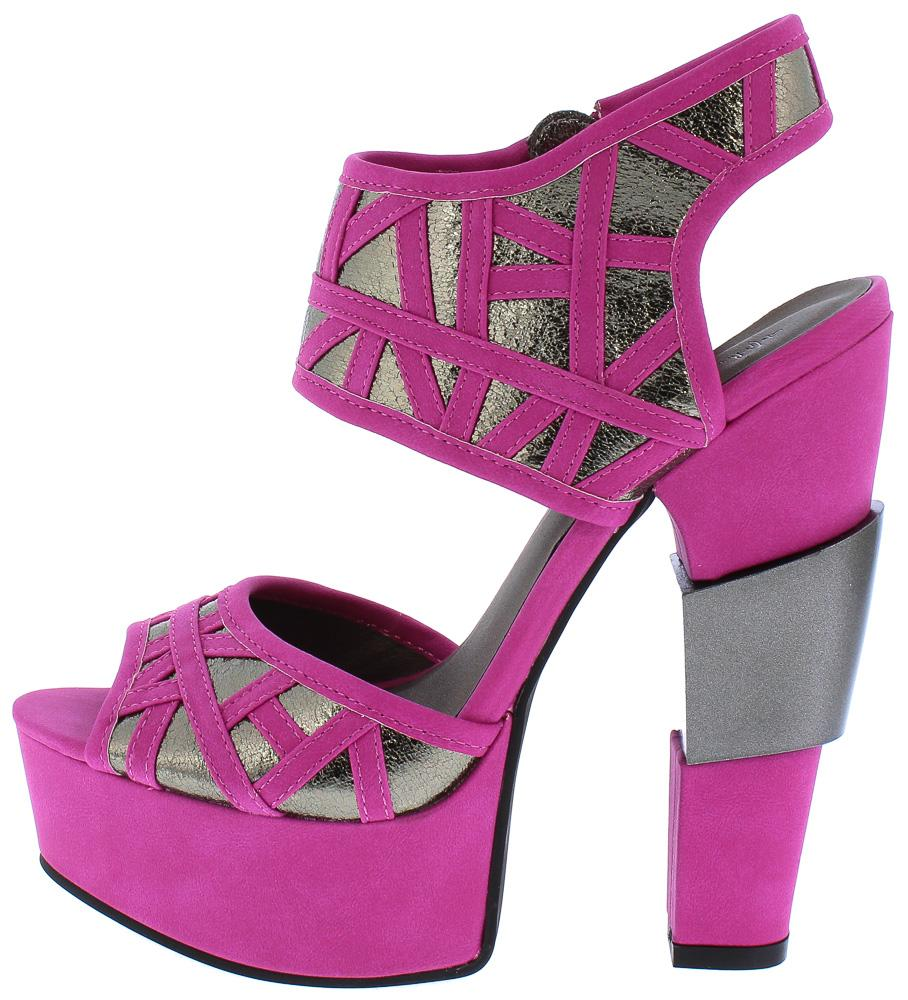 6de3bd86fe2 Ariel188 Pink Metallic Laser Cut Chunky Platform Heel - Wholesale Fashion  Shoes