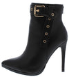 Monique071 Black Pointed Toe Buckle Ankle Boot - Wholesale Fashion Shoes