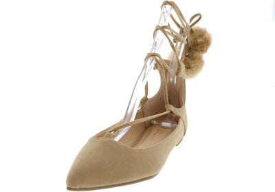 Teddy Camel Suede Ghillie Lacing Pom Pom Flat - Wholesale Fashion Shoes