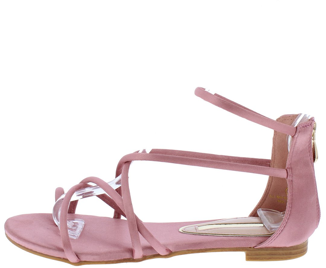 f0c25fc4efd Emilia090 Dusty Pink Satin Strappy Gladiator Sandal - Wholesale Fashion  Shoes