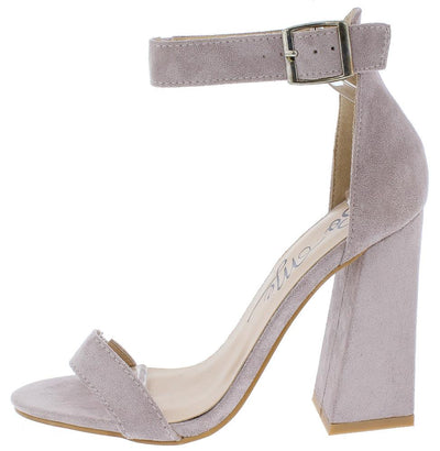 Tegan Lilac Open Toe Ankle Strap Chunky Slanted Heel - Wholesale Fashion Shoes