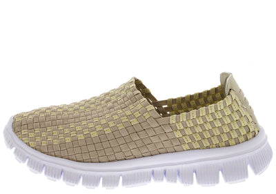Ten002 Beige Rubber Sole Sneaker Woven Flat - Wholesale Fashion Shoes