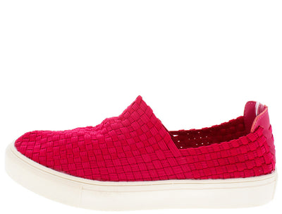 Ten003 Fuchsia Woven Slip on Sneaker Flat - Wholesale Fashion Shoes