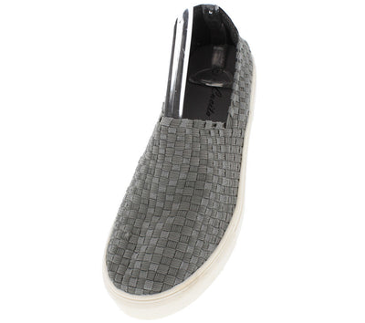 Ten003 Grey Woven Slip on Sneaker Flat - Wholesale Fashion Shoes