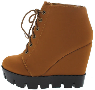 Tense10 Chestnut Lug Sole Lace Up Wedge Boot - Wholesale Fashion Shoes