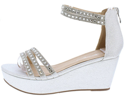 Teran03 Silver Shimmer Open Toe Rhinestone Strap Low Wedge - Wholesale Fashion Shoes