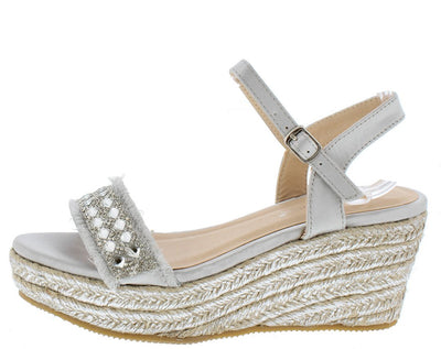 Teran04 Silver Fringe Embellished Slingback Espadrille Wedge - Wholesale Fashion Shoes