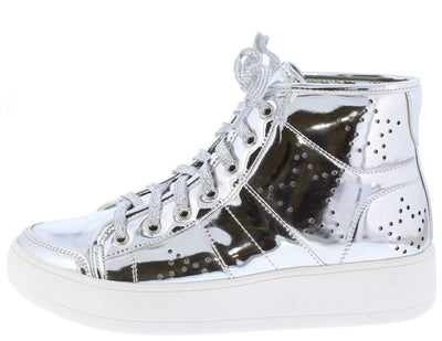 Teresa3 Silver Star Perforated Lace Up High Top Sneaker Flat - Wholesale Fashion Shoes