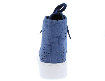 Teresa3 Blue Denim Star Perforated Lace Up High Top Sneaker Flat - Wholesale Fashion Shoes