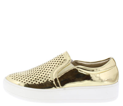 Teresa8 Gold Diamond Perforated Slide on Sneaker Flat - Wholesale Fashion Shoes