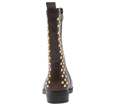 Teresagh006 Brown Studded Back Boot - Wholesale Fashion Shoes