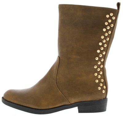 Teresagh006 Camel Studded Back Boot - Wholesale Fashion Shoes