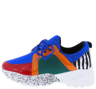 Terrace09a Blue Multi Lace Up Sneaker Flat - Wholesale Fashion Shoes