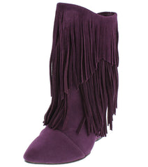AVERY DARK PLUM POINTED TOE MULTI FRINGE WEDGE ANKLE BOOT - Wholesale Fashion Shoes