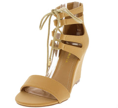 TESSA CAMEL OPEN TOE LACE UP SINGLE SOLE WEDGE - Wholesale Fashion Shoes