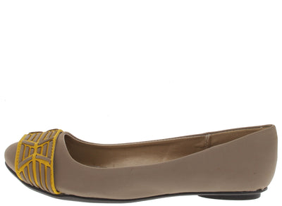 Thesis193 Taupe Mustard Toe Strip Ballet Flat - Wholesale Fashion Shoes