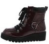 Thomas01 Burgundy Box Pu Lace Up Combat Boot - Wholesale Fashion Shoes