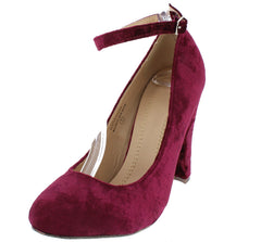HAZEL4 BURGUNDY VELVET ALMOND TOE SINGLE STRAP CHUNKY HEEL - Wholesale Fashion Shoes - 2