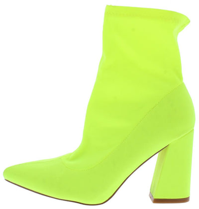 Tiehd Up Lime Pointed Toe Angled Heel Ankle Boot - Wholesale Fashion Shoes